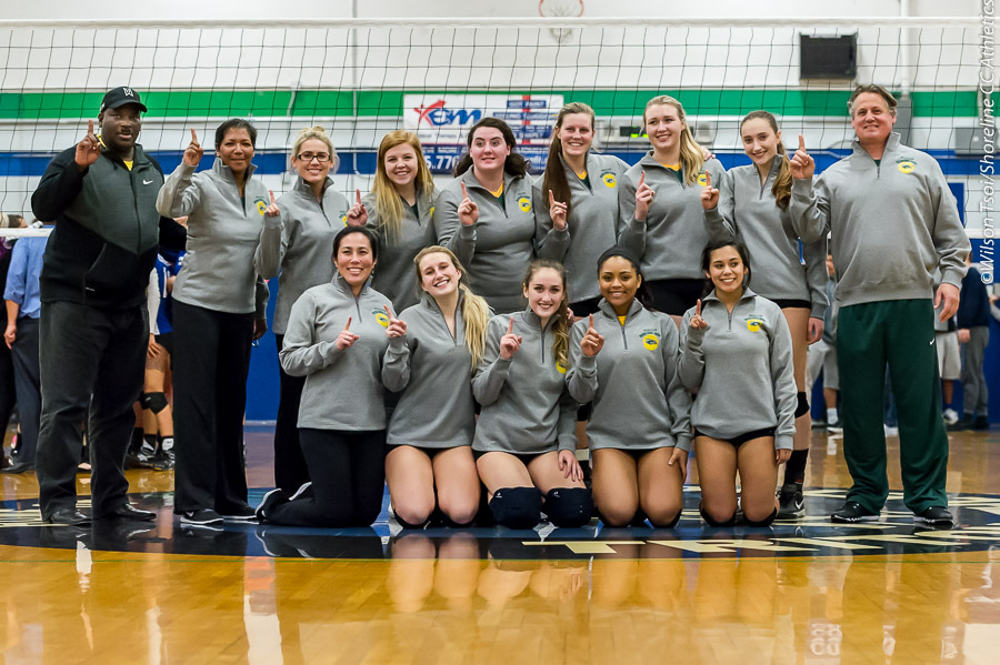 In its last regular season match, Shoreline Dolphins Volleyball defeats cross town rival Edmonds Tritons in 3 straight sets to capture NWAC North Region crown at Tritons Gym, Lynnwood, Washington on November 10, 2015.