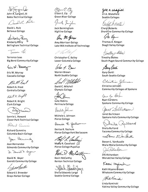 college presidents signatures