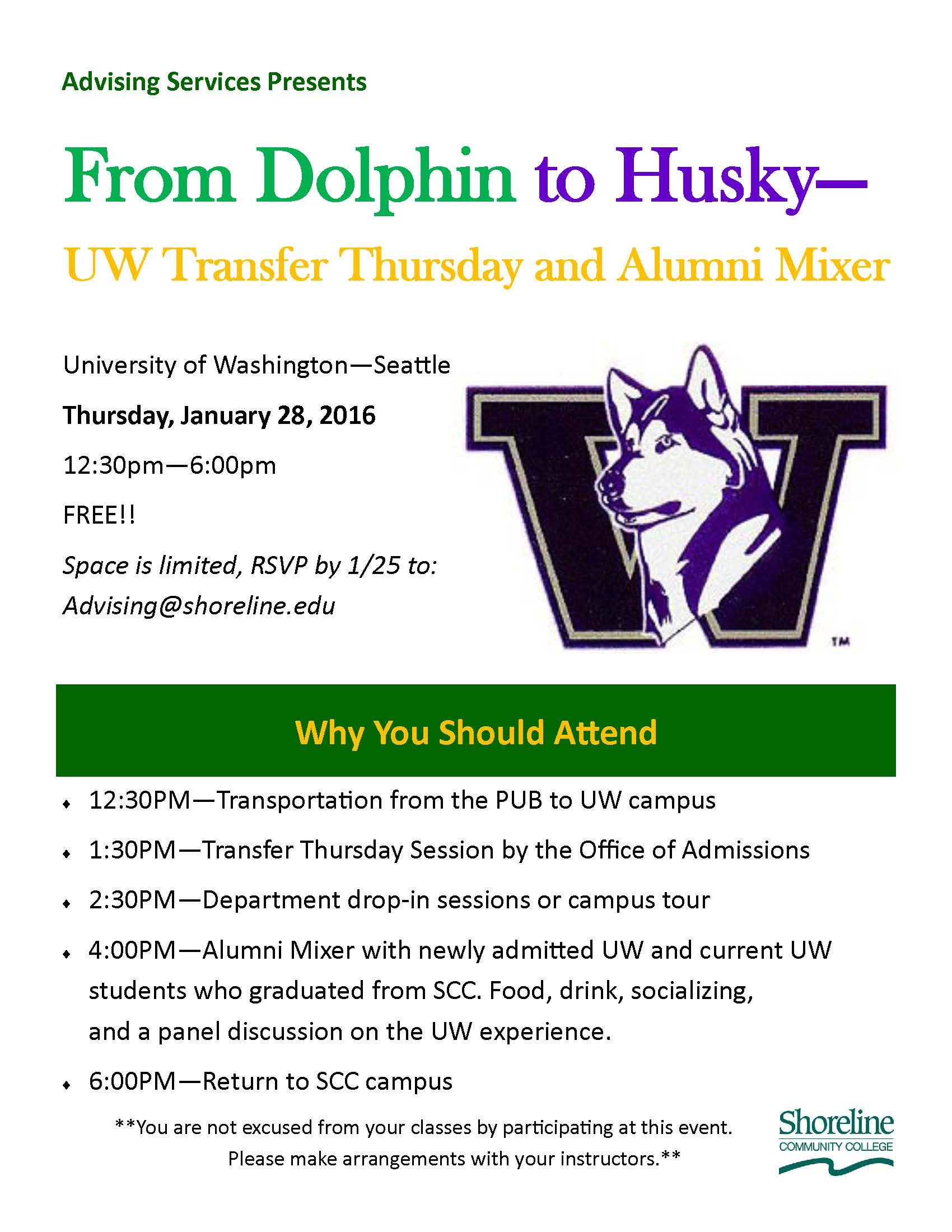 Sign up now for the UW Transfer Thursday and Alumni Mixer