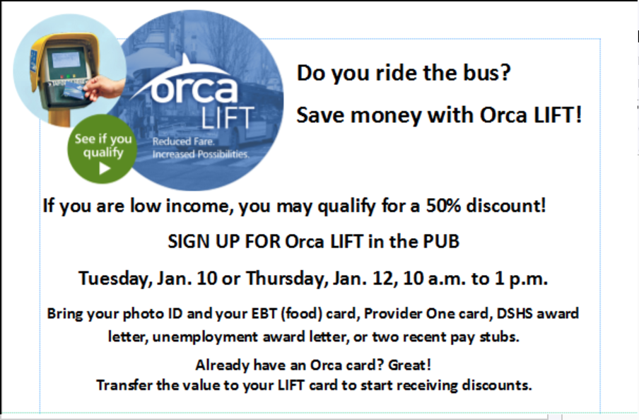 Save money on your bus fare! ORCA Lift sign up events, Tues